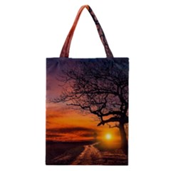 Lonely Tree Sunset Wallpaper Classic Tote Bag