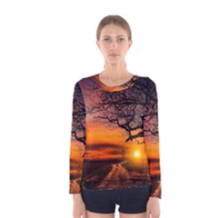 Lonely Tree Sunset Wallpaper Women s Long Sleeve Tee
