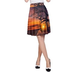 Lonely Tree Sunset Wallpaper A-Line Skirt