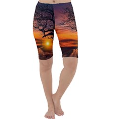 Lonely Tree Sunset Wallpaper Cropped Leggings