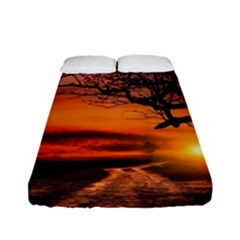 Lonely Tree Sunset Wallpaper Fitted Sheet (Full/ Double Size)