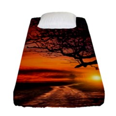 Lonely Tree Sunset Wallpaper Fitted Sheet (Single Size)