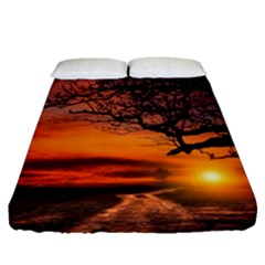 Lonely Tree Sunset Wallpaper Fitted Sheet (Queen Size)