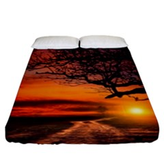 Lonely Tree Sunset Wallpaper Fitted Sheet (King Size)