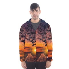 Lonely Tree Sunset Wallpaper Hooded Windbreaker (men)