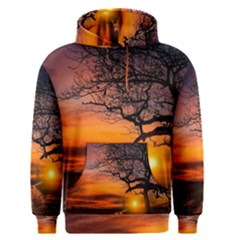 Lonely Tree Sunset Wallpaper Men s Pullover Hoodie