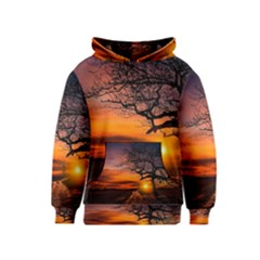 Lonely Tree Sunset Wallpaper Kids  Pullover Hoodie