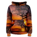 Lonely Tree Sunset Wallpaper Women s Pullover Hoodie View1
