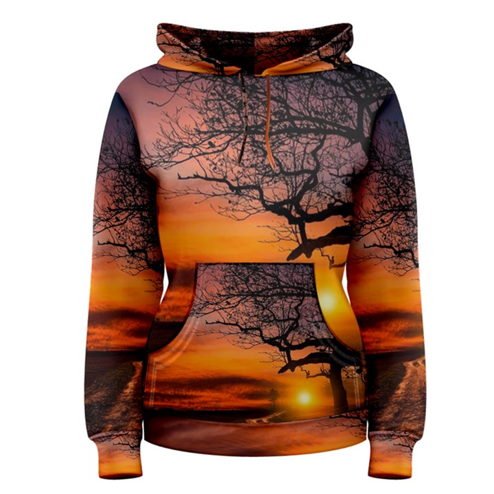 Lonely Tree Sunset Wallpaper Women s Pullover Hoodie