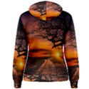 Lonely Tree Sunset Wallpaper Women s Pullover Hoodie View2