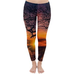 Lonely Tree Sunset Wallpaper Classic Winter Leggings