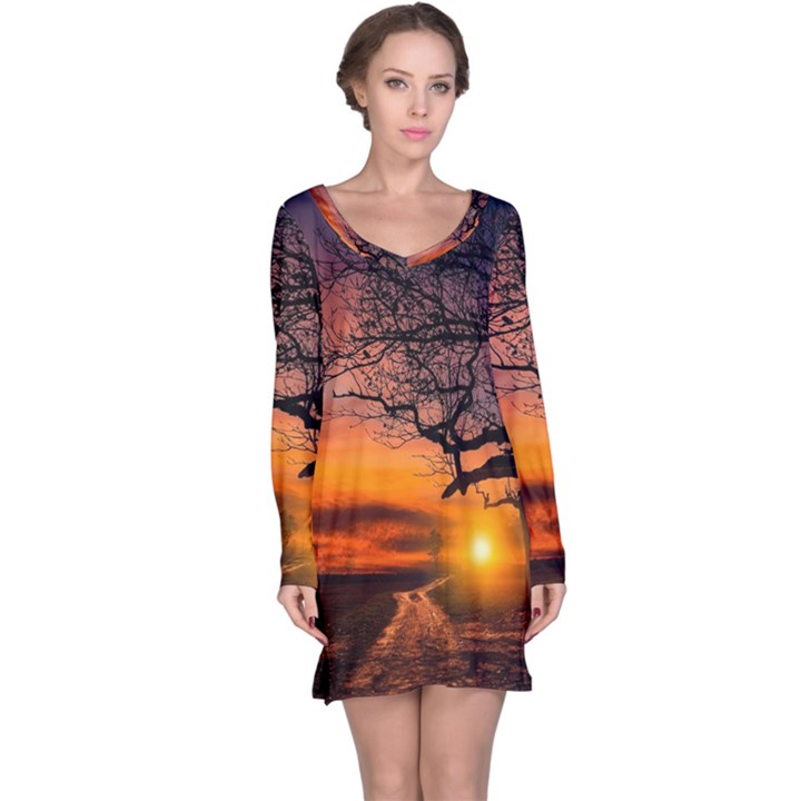 Lonely Tree Sunset Wallpaper Long Sleeve Nightdress