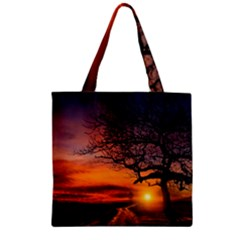 Lonely Tree Sunset Wallpaper Zipper Grocery Tote Bag