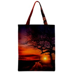 Lonely Tree Sunset Wallpaper Zipper Classic Tote Bag