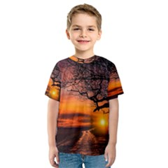 Lonely Tree Sunset Wallpaper Kids  Sport Mesh Tee