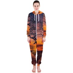 Lonely Tree Sunset Wallpaper Hooded Jumpsuit (Ladies)