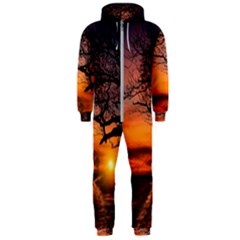 Lonely Tree Sunset Wallpaper Hooded Jumpsuit (Men)