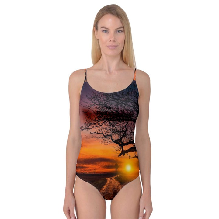 Lonely Tree Sunset Wallpaper Camisole Leotard