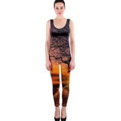 Lonely Tree Sunset Wallpaper One Piece Catsuit