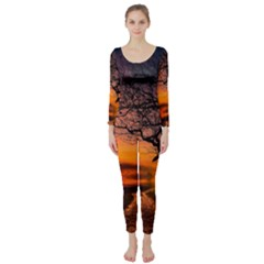 Lonely Tree Sunset Wallpaper Long Sleeve Catsuit