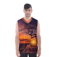 Lonely Tree Sunset Wallpaper Men s Basketball Tank Top