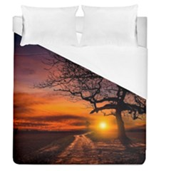Lonely Tree Sunset Wallpaper Duvet Cover (queen Size)