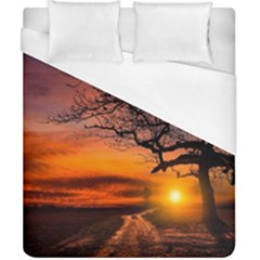 Lonely Tree Sunset Wallpaper Duvet Cover (california King Size) by Alisyart