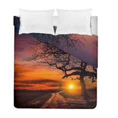Lonely Tree Sunset Wallpaper Duvet Cover Double Side (full/ Double Size)