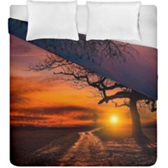 Lonely Tree Sunset Wallpaper Duvet Cover Double Side (King Size)