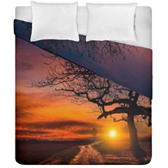 Lonely Tree Sunset Wallpaper Duvet Cover Double Side (California King Size)