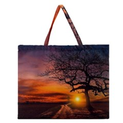 Lonely Tree Sunset Wallpaper Zipper Large Tote Bag