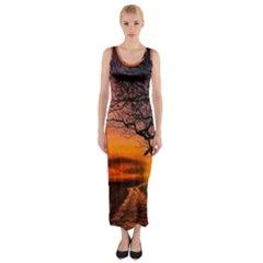 Lonely Tree Sunset Wallpaper Fitted Maxi Dress