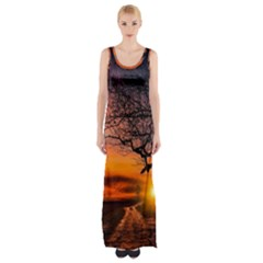 Lonely Tree Sunset Wallpaper Maxi Thigh Split Dress