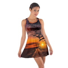 Lonely Tree Sunset Wallpaper Cotton Racerback Dress