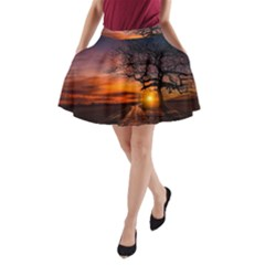 Lonely Tree Sunset Wallpaper A-line Pocket Skirt