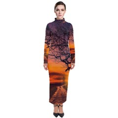 Lonely Tree Sunset Wallpaper Turtleneck Maxi Dress