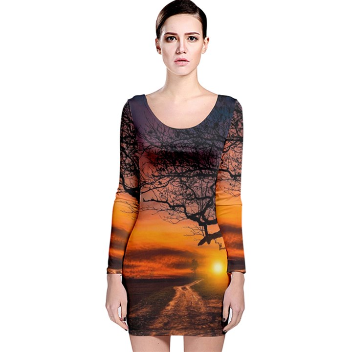 Lonely Tree Sunset Wallpaper Long Sleeve Velvet Bodycon Dress