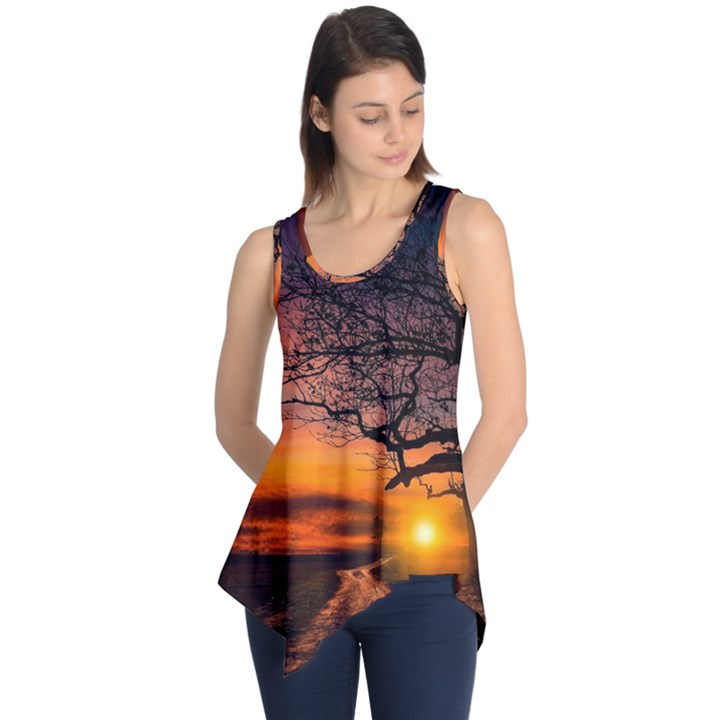 Lonely Tree Sunset Wallpaper Sleeveless Tunic