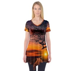 Lonely Tree Sunset Wallpaper Short Sleeve Tunic
