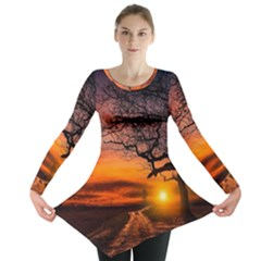 Lonely Tree Sunset Wallpaper Long Sleeve Tunic