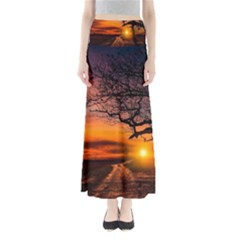 Lonely Tree Sunset Wallpaper Full Length Maxi Skirt