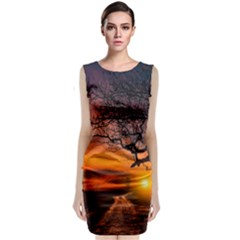 Lonely Tree Sunset Wallpaper Classic Sleeveless Midi Dress
