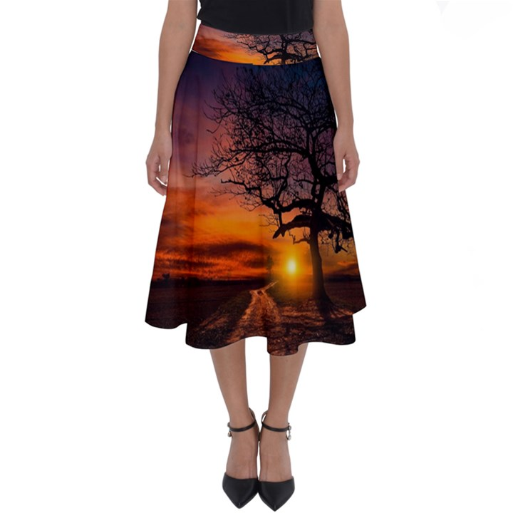 Lonely Tree Sunset Wallpaper Perfect Length Midi Skirt