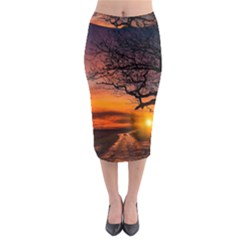 Lonely Tree Sunset Wallpaper Midi Pencil Skirt