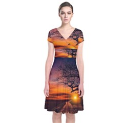 Lonely Tree Sunset Wallpaper Short Sleeve Front Wrap Dress
