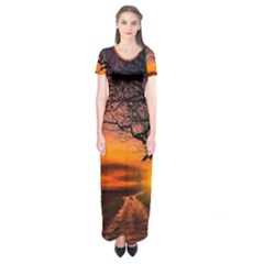 Lonely Tree Sunset Wallpaper Short Sleeve Maxi Dress
