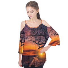 Lonely Tree Sunset Wallpaper Flutter Tees