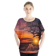 Lonely Tree Sunset Wallpaper Blouse