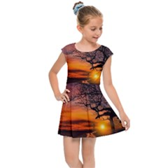 Lonely Tree Sunset Wallpaper Kids Cap Sleeve Dress