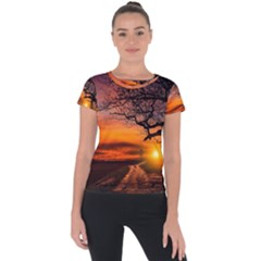 Lonely Tree Sunset Wallpaper Short Sleeve Sports Top